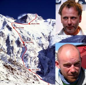 Nanga Parbat in 2010. The route on Nanga Parbat. Arthur Hyzer (top) and Robert Zhymchak. Photo www.mounteverest.net